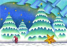 クリスマスイラスト「星でやって来たサンタ」 - クリスマスツリー・樅の木・星・宇宙船・積雪・キラ星・オーロラ