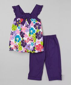 Look at this #zulilyfind! Purple Floral Bubble Top & Capri Pants - Toddler & Girls #zulilyfinds