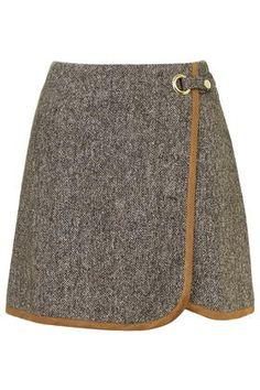 Tweed Wrap Front Pelmet Skirt