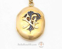 Antique Victorian Monogram Locket Pendant by BellaRosaGalleries Vintage Jewelry, Unique Jewelry, Victorian Jewelry, Art Nouveau, Monogram Jewelry, Pocket Watch, Enamel, Pendant Necklace, Trending Outfits