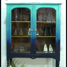 """""""Hello Gorgeous!! This ombré cabinet goes from GF Patina Green to Coastal Blue Milk Paint with custom mixes in between. Thanks for sharing…"""""""