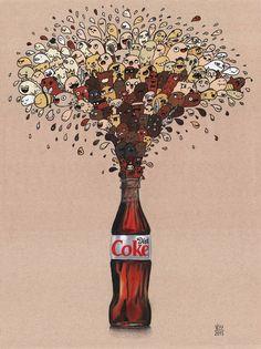 Image of Diet Coke Doodle Print Ink Doodles, Kawaii Doodles, Cool Doodles, Doddle Art, Doodle Drawings, Cute Drawings, Realism Art, Doodle Designs, Diet Coke
