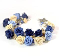 Floral cha cha charm bracelet - Polymer clay jewelry - Blue Ivory Rose Floral bracelet