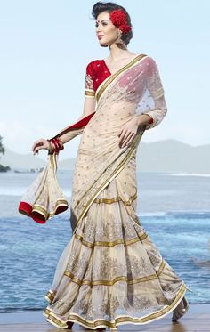 : Cream Net Lehenga Style Saree with Blouse Lehenga Style Saree, Lehenga Saree, Lehenga White, Sabyasachi, Ethnic Fashion, Indian Fashion, Ethnic Chic, Indian Dresses, Indian Outfits