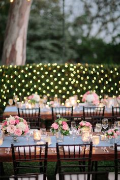 Pale Blue Table Runners with Shades of Pink Centerpieces and Mecury Glass Candles... of course!  On SMP: http://www.StyleMePretty.com/2013/01/22/rancho-santa-fe-wedding-from-troy-grover-photographers-2/ Troy Grover Photographers