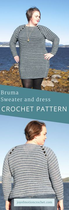 The Bruma Sweater and dress crochet pattern. 2 in 1 crochet pattern. Easy crochet pattern. Sweater crochet pattern. Garment crochet pattern. Crochet pattern for her. Woman's crochet dress. #sweatercrochetpattern #dresscrochetpattern #easycrochetpattern #crochet #crochetpattern