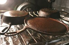 If you have more than one pan to clean, place multiples in the oven at this stage to save time.