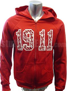 Kappa Alpha Psi Full-Zip Hoodie Sweatshirt with Embellished 1911, Red