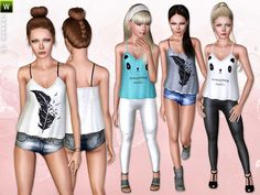 Feather/Birds Shirt, Hotpants, Panda Top and Shine Leggings by Lillka - Sims 3 Downloads CC Caboodle