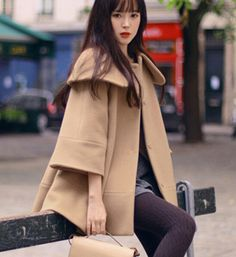 Fashion Turndown Collar Woolen Cape Coat For Women