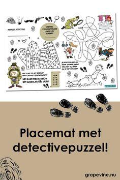 Een placemat voor bij een mysterie of detectivefeestje wat tegelijkertijd een mooie decoratie is en de kinderen een poosje bezighoudt met kleuren en puzzelen!