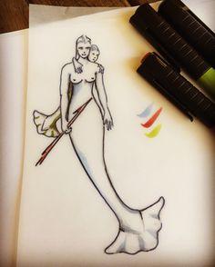 Real mermaid tattoo sketch