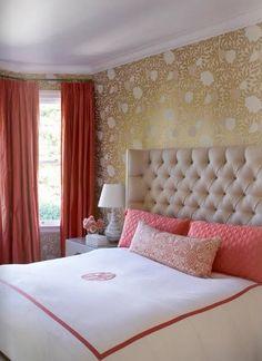 tufting + coral hotel stripe + metallic gold wallpaper