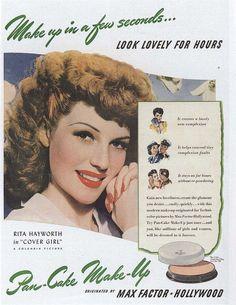 Rita Hayworth uses Max Factor Pan-Cake Make-Up in 1943