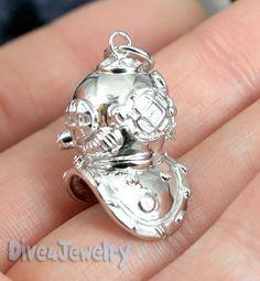 3D Scuba Dive Helmet Sterling Silver Pendant Necklace