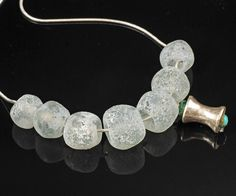 Friction: Ghost Gray. Inspired by old beach glass, modern lampwork bead necklace by Judith Billig, SRA. $68.00