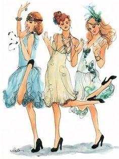 Girls dancing #party / Ragazze che ballano #festa - Illust: #Inslee
