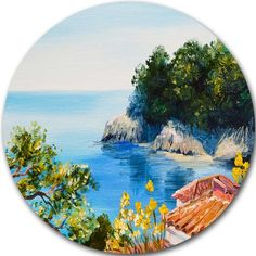 "DesignArt 'House Near The Sea' Painting Print on Metal Size: 11"" H x 11"" W x 1"" D"