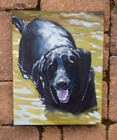 11x14 Custom Original Beloved Dog Black Lab Acrylic Pet Portrait from Photograph of Beloved Dog or Pet Canvas Painting Wall Hanging Keepsake by mia4art on Etsy