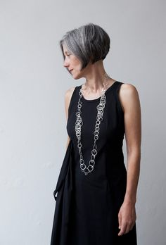 The possible interactions between body and movement with material and surrounding are a main theme in Annette Lechler 's organic jewelry designs. Short Thin Hair, Short Grey Hair, Short Hair Cuts, Short Hair Styles, Gray Hair, Mature Women Hairstyles, Grey Hair Inspiration, Salt And Pepper Hair, Boris Vallejo