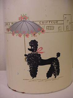 vintage poodle tin