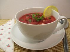 Cékla krémleves Tea Cups, Tableware, Kitchen, Dinnerware, Cooking, Tablewares, Kitchens, Dishes, Cuisine