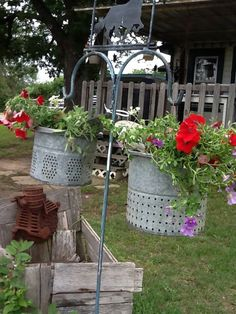 Minnow Bucket Planters on Shepherd's Hook! So rustic and beautiful! Plenty of drainage too! Flower Planters, Garden Planters, Galvanized Planters, Galvanized Metal, Garden Junk, Lawn And Garden, Flea Market Gardening, Rustic Gardens, The Ranch