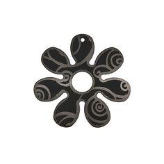 40mm  Metal Black Aluminum Round 7Petal Flower  2 by LeCotillon