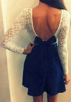 Lace Chiffon Dress - Dark Blue. Super cute, no idea when I'd wear it lol