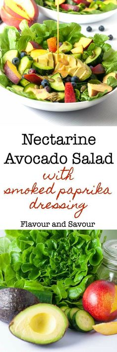 Sweet stone fruit, creamy avocados, and crisp cucumbers drizzled with a smoky dressing make this Nectarine Avocado Salad a superb lunch or light meal. #paleodiet #veganrecipes #vegan #avocado #nectarines #flavourandsavoaur
