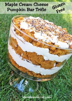 Maple Cream Cheese Pumpkin Bar Trifle (GF Option) - now that Fall is here it's time to bring out all things pumpkin!