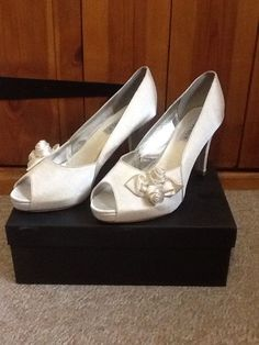 Getting married soon? Need shoes for a special occasion? Check out these beauties. Love Claire x   HEAVENLY Ivory Satin Size 8/41 Rose Bud Peeptoe High Heel Shoes Prom Wedding