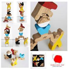 Circus - toy - handmade -  art set - balance - wood -. €28,00, via Etsy.