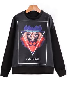 Shop Black Long Sleeve Triangle Lion Print Sweatshirt online. Sheinside offers Black Long Sleeve Triangle Lion Print Sweatshirt & more to fit your fashionable needs. Free Shipping Worldwide!