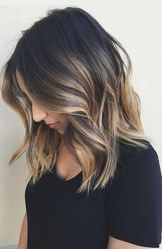 Brown Ombré Hair Color Ideas: Ribbon Highlights Into Ombré Blonde Bayalage, Balayage Brunette, Dark Brunette, Blonde Hair, Long Bob Bayalage Brown, Brown Ombre Short Hair, Long Bob With Balayage, Black Hair With Balayage, Hair Color Ideas For Brunettes Balayage
