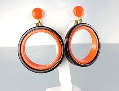 Vintage Mod plastic Hoop Earrings Orange Brown 1960s by RMSjewels, $35.00