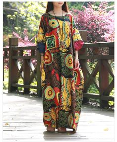 Abstract Printing Plus Size Long Dress