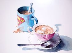"""His & Hers Cocoa"" watercolor on paper. Now that we are getting winter weather here in South Africa it is time for hot cocoa! I painted this still life a few years ago. Can you guess which mug is mine and which is Kim's? South Africa, Cocoa, Weather, Posts, Watercolor, Paper, Artwork, Artist, Life"