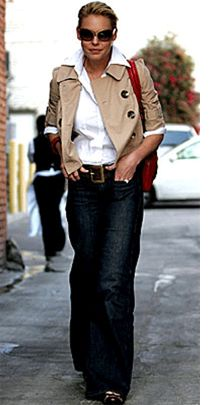 On a mission to have a look that is chic Like Katherine Heigl style featuring a crop trench and trouser jeans.