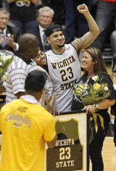 Fred VanVleet acknowledges the crowd while he was honors after the Shockers' win over Illinois State on Saturday.