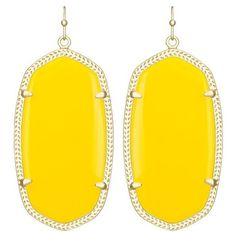 Danielle Yellow Statement Earrings in Gold | Kendra Scott ❤ liked on Polyvore featuring jewelry, earrings, yellow jewelry, kendra scott, gold statement earrings, kendra scott earrings and gold oval earrings