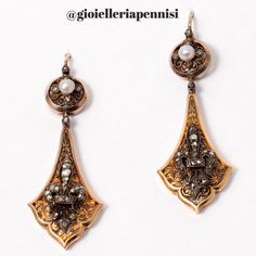 Victorian gold, silver and diamond and pearl earrings. With a French fleur de lys. Paris, 19th century. Now in an american private collection.