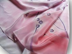 Pink silk scarf with small flowers. Floral. Hand painted by SilkAgathe.