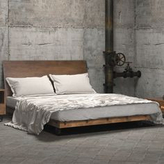 Perhaps you are planning to buy a new bed. Have you ever thought about platform bed? Platform bed gives an interesting and unique look to your bedroom. Browse from our unique selection of platform beds and shop today! Industrial Bedroom Furniture, Industrial Bedroom Design, Furniture Decor, Wicker Furniture, Furniture Design, Fine Furniture, Furniture Projects, Contemporary Furniture, Cama Industrial