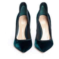 Gianvito Rossi 'Tuxedo' satin topline velvet pumps ($808) ❤ liked on Polyvore featuring shoes, pumps, pointed stilettos, pointed shoes, dark green pumps, heels stilettos and pointy-toe pumps #pumpsoutfit