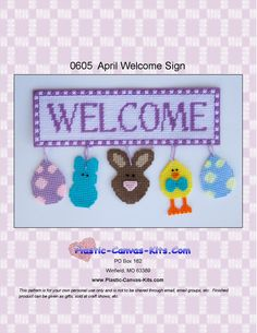 Plastic Canvas-Easter Welcome Sign