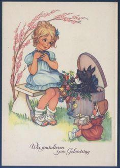 Künstlerkarte - sign. Elisabeth - Geburtstag ( K01167 ), Briefmarken-Versand-Welt - Briefmarken, Ansichtskarten und mehr