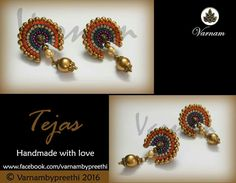 I should start making such stud types more :) Totally in love  Code name: Tejas Handmade paper based earring embellished with rhinestones as a stud type with drops :) #handmadelove #varnambypreethi #tejas #chennai #accessories #earrings #jewelry #studs #rhinestones #ethnic #bling #ethnic #traditional