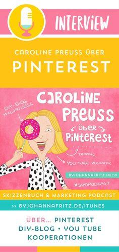 """Pinterest Profi Caroline Preuss und Diy-Bloggerin (madmoisell) spricht im Podcast """"Skizzenbuch und Marketing"""" darüber, wie sie Pinterest nutzt, um all den Traffic auf ihren Blog zu lenken. Kurs: Wie du mit Pinterest für deinen Blog oder Website eine unglaublich hohe Reichweite erzielen kannst."""