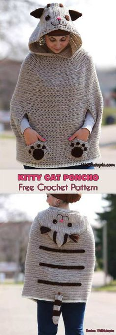 Kitty Cat Poncho Free Crochet Pattern #freecrochetpatterns